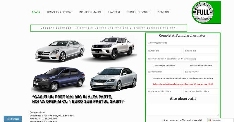 Creare site inchiriere auto 1