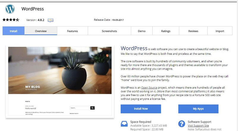 Instalare wordpress din cpanel