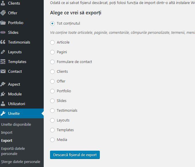 Cum se poate realiza exportul/ importul continutului pe un website wordpress